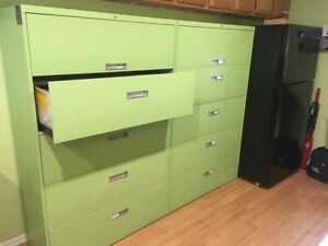 2 Large Metal Lateral File Cabinets 5 Drawers Each Light Green Finish