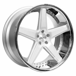 22 Staggered Azad Wheels Az008 Silver Brushed Ch Lip Rims Fit Cadillac Deville