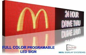 Wi fi Mobile App Programmable Full Color 19 X 63 Led Sign Outdoor Open Display