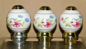 Lot Of 3 Porcelain Bed Knobs Pretty Florals With Original Caps And Post Inserts