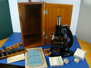Vintage 1942 Wwii Era Bausch Lomb Microscope With Case Lenses Manual Ak7274