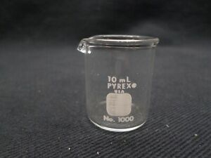 Corning Pyrex 10ml Glass Ungraduated Low Form Griffin Beaker 1000 10
