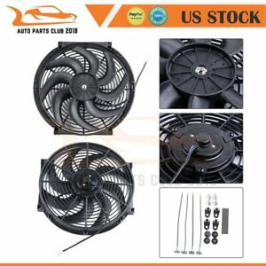 2pcs 14 Inch Universal Radiator Ac Condenser New Electric Cooling Fan Mount Kit