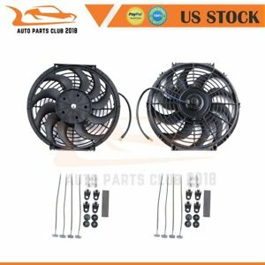 12 Inch Universal Radiator Ac Condenser Electric Plastic Black Cooling Fan 12v