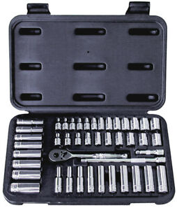 Sae And Metric Pro Socket Set 1 4 Drive 6 point 44 Pc