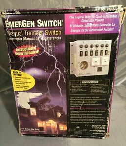Emergen Conn Electric Model 6 7500 Manual Generator Transfer Switch 30 Amp new