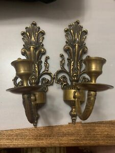 Vintage Pair Solid Brass Wall Sconces Candlestick Candle Holders