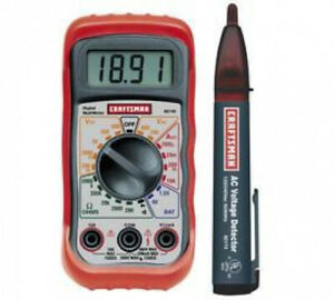 Craftsman Digital Multimeter And Voltage Detector With Holster Case 7 Functions