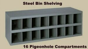 Steel Bin Shelving 16 Pigeonhole Compartments Parts Fittings Nut Bolt Storage