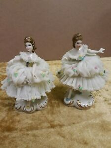 Lot Of 2 5 Porcelain Lace Ballerina Dancer Figurines With Lace Dresses Flowers