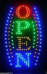 Large Vertical Animated Business Led Open Sign W Motion On off Switch 21 X