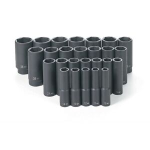 26 Pc 1 2 Drive Deep Length Metric Impact Socket Set Grey Pneumatic Gry1326md