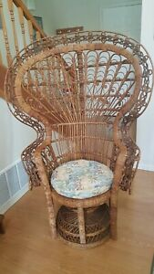 Vintage Wicker Peacock Fan Back Chair
