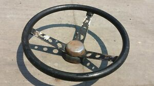 Moty120 Steering Wheel Steel Chrome Vtg Hot Rat Rod Chevy Ford 1970 80s Superior