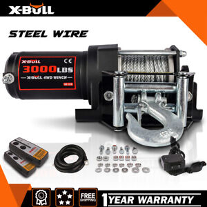 X Bull 12v 3000lbs Electric Winch Steel Cable Winch Utv Atv Winch Off Road 4wd