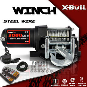 X bull 3000lbs 12v Electric Winch Steel Cable Winch Utv Atv Winch Off Road 4wd