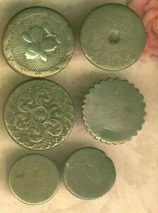 6 Hard White Pewter Buttons From 1820 S