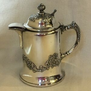 Antique Silver Plate Syrup Pitcher Bristol Plate Heavy Flourish Pattern