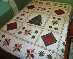 New Vintage Rustic Cabin Cottage Handmade Patchwork Holiday Quilt Queen 86 X 86
