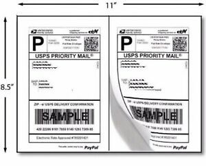 400 Half Sheet Self Adhesive Internet Shipping Labels For Ebay Paypal 8 5 X 5 5