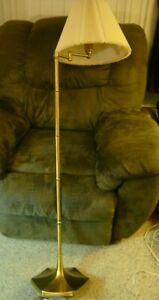 Vtg Mid Century Modern Brass Swing Arm Floor Lamp Pole Light Laurel Lightolier