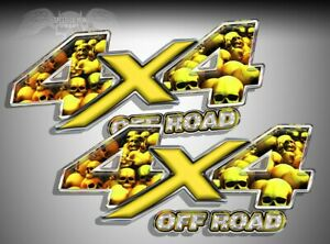 4x4 Off Road Truck Decals Vinyl Graphic Stickers Yellow Gold Skull 8 Sd016or4