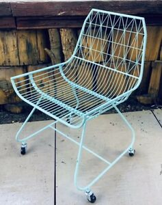 Mid Century Retro Modern Metal Wire Patio Chair Mint Green Teal