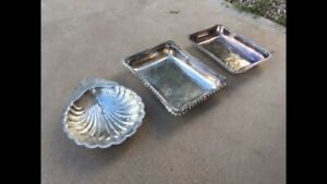 Vintage Silver Serving Dishes Tray Plates