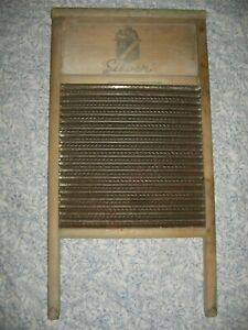 Vintage Antique Washboard Home Crest Silver Wood Laundry Decor Great Patina 24 L