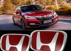 2x Red H Type r Front Rear Badge Emblem For Honda 4dr Accord 2003 13