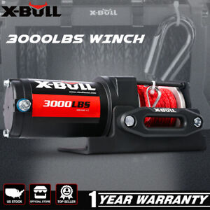 X bull Electric Winch 3000lbs 12v Synthetic Atv Utv Wireless Remote Towing Truck