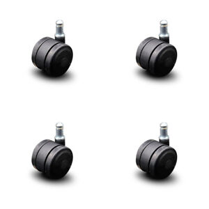 Scc soft Wheel Office Chair Casters 2 Black Twin Wheels hardwood Safe set Of 4