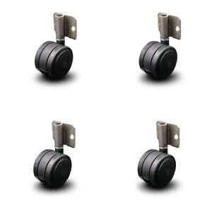 Scc side Mounting Casters 2 375 Blk Twin Wheels hardwood Safe Non Marking set 4