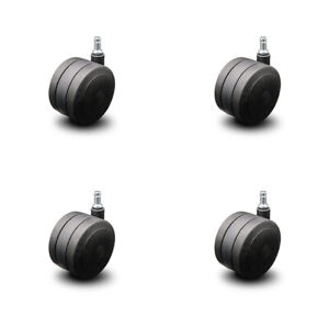 Scc soft Wheel Office Chair Casters 4 Black Twin Wheels hardwood Safe set Of 4