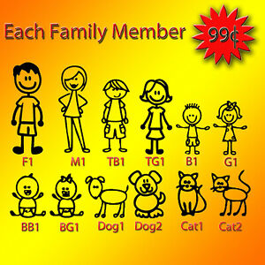 Stick Figure My Family Car Decal Sticker Pet Dog Cat Window Bumper Vinyl