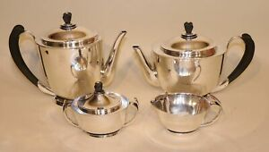 International Sterling Silver La Paglia Tea Set Coffee Pot Teapot Creamer Sugar