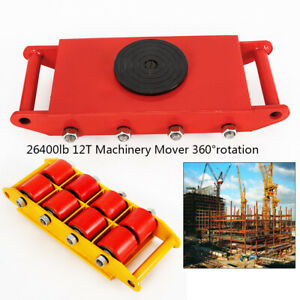 12t 26400 Lbs Heavy Duty Machine Dolly Skate Roller Machinery Mover 360 rotation