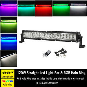 22 Inch Off road Led Work Light Bar Combo With Rgb Angel Eyes Halo Ring Drl 20