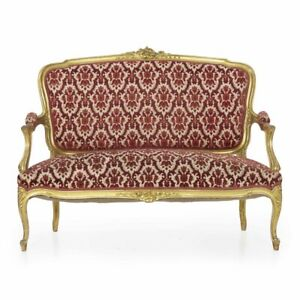 Vintage Sofa Settee Antique French Louis Xv Style Carved Giltwood Canape C 1900