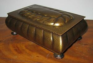 Vintage Wmf Germany Arts Crafts Deco Hammered Brass Music Box