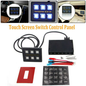 6 Gang Blue Led Capacitive Slim Touch Screen Marine Boat Caravan Rv Switch Panel