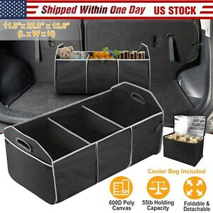 Car Cargo Collapsible Trunk Organizer W Leak Proof Cooler Bag For Auto Suv Us