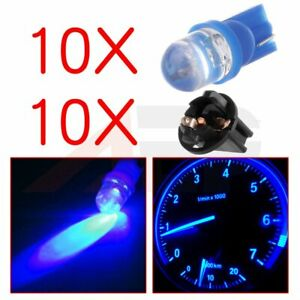 10x Blue Round Diode Led W Socket T10 Pc194 168 Instrument Dash Gauge Light Bulb