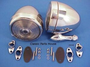 Dummy Spot Lights 2 Show Chrome Steel Lead Sled Rat Rod