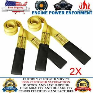 2 Pack 6 x2 Lifting Sling Straps Belt With Heavy Duty Flat Loops 10000lbs Nylon