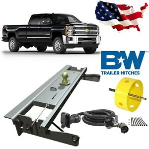 B W Turnoverball Gooseneck Hitch W Hole Saw 7 Wiring Kit For Chevrolet Gmc