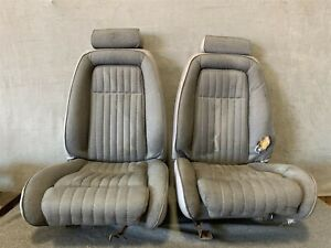 87 93 Ford Mustang Front Power Bucket Seats Tweed Cloth Left Right Titanium Gray