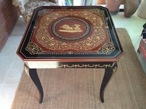 Sorrento Italian Inlaid Wood Lacquered Gaming Table