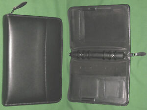 Compact 1 0 Black Leather Day Runner Planner Binder Franklin Covey 7178