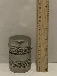 Derby Quadruple Silver Company Cylender Lidded Domed Container
